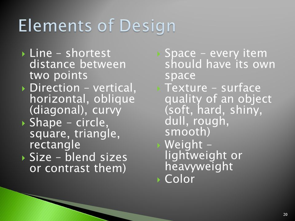 Elements of Design Line – shortest distance between two points