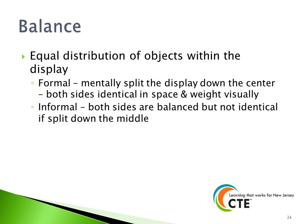 Balance Equal distribution of objects within the display