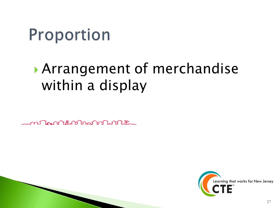 Proportion Arrangement of merchandise within a display