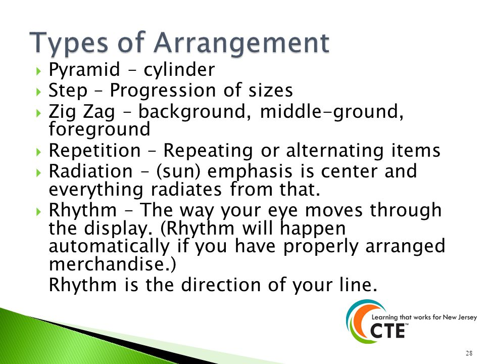 Types of Arrangement Pyramid – cylinder Step – Progression of sizes