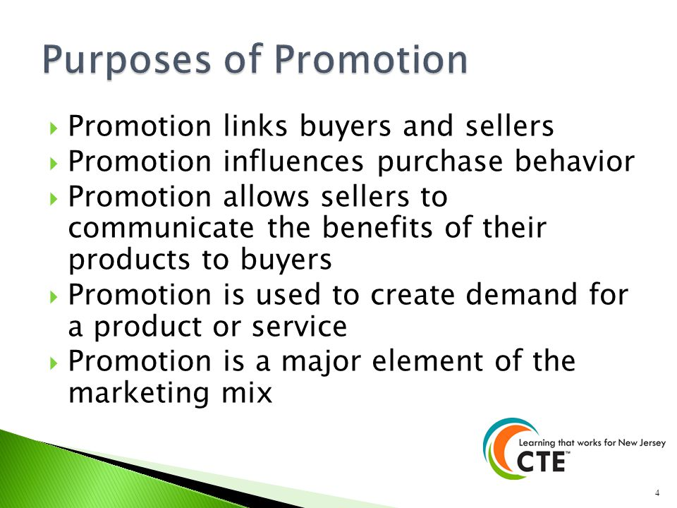 Purposes of Promotion Promotion links buyers and sellers