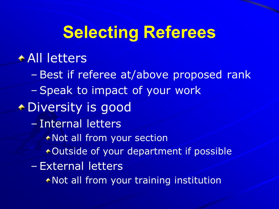 Selecting Referees All letters Diversity is good