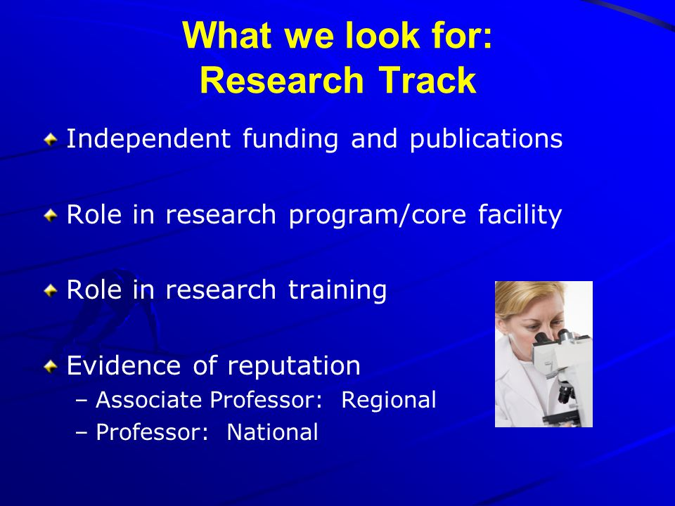 What we look for: Research Track