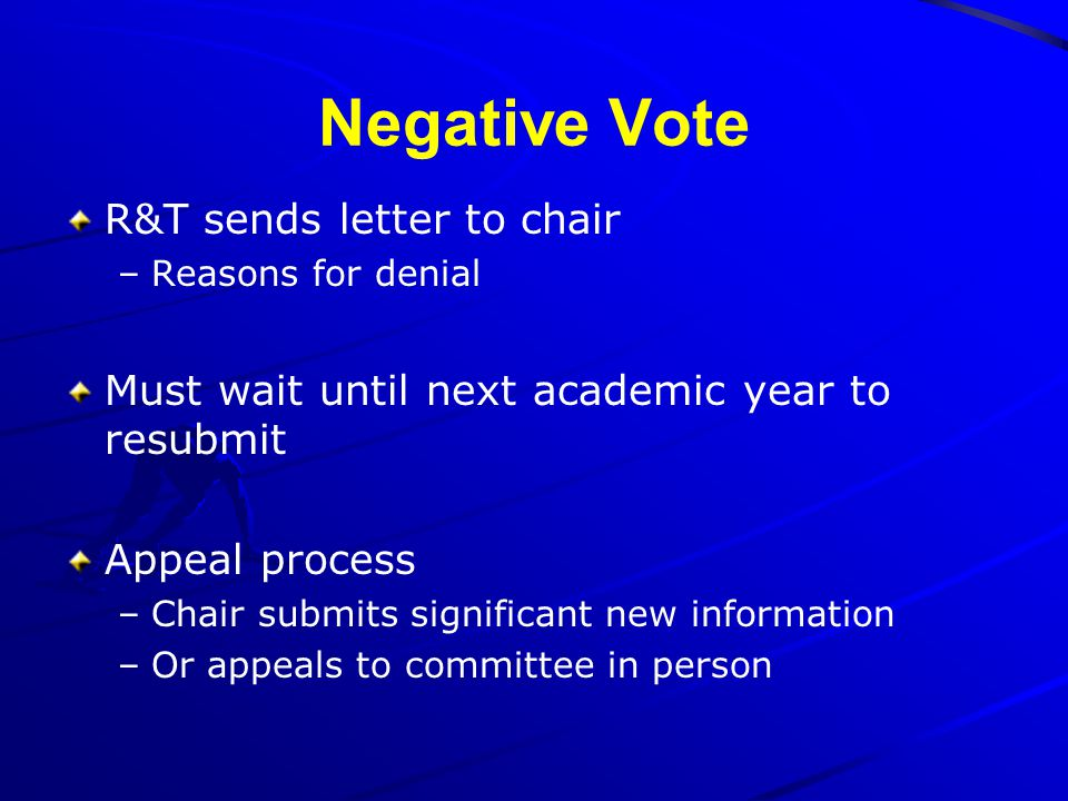 Negative Vote R&T sends letter to chair