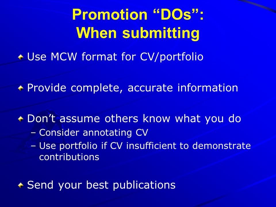 Promotion DOs : When submitting