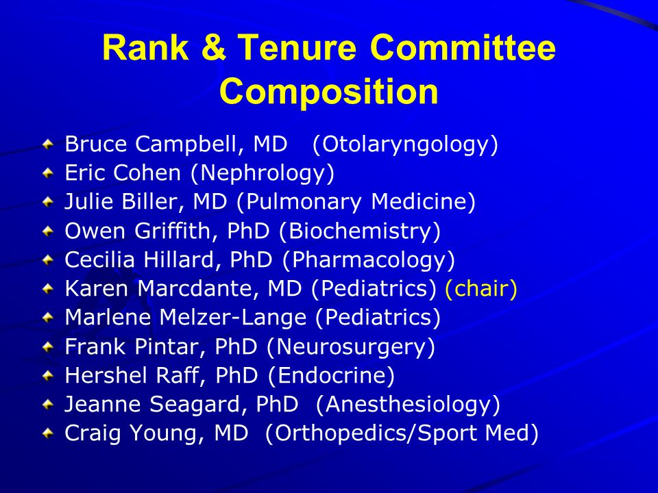 Rank & Tenure Committee Composition
