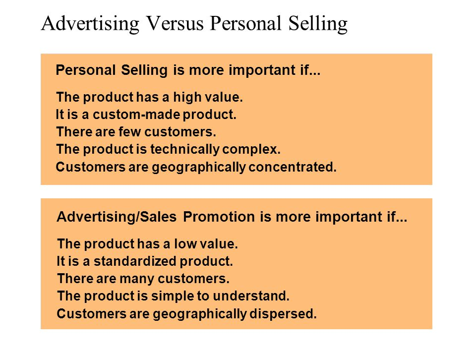 Advertising Versus Personal Selling