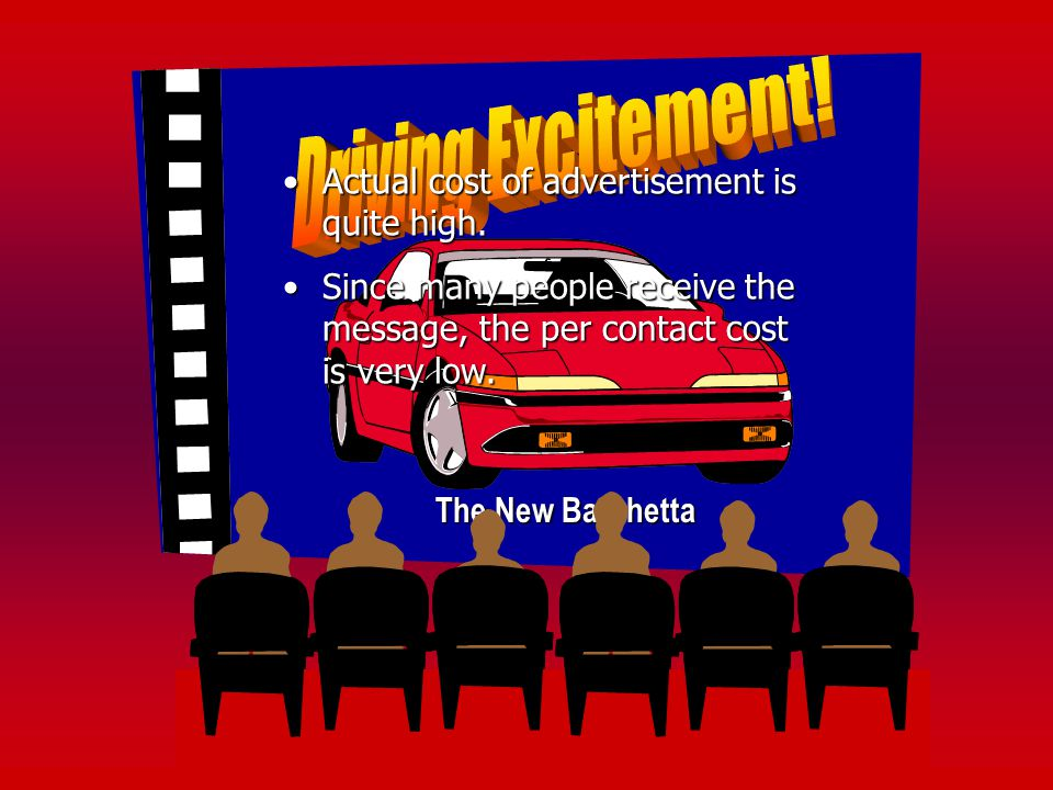 Driving Excitement! Actual cost of advertisement is quite high.