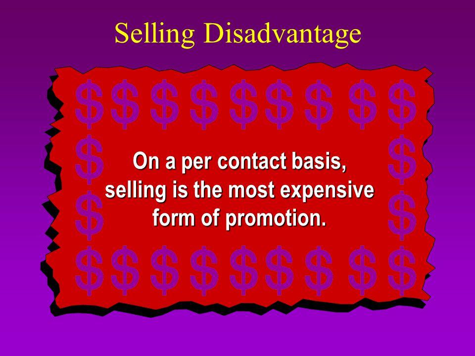 Selling Disadvantage Selling Advantages