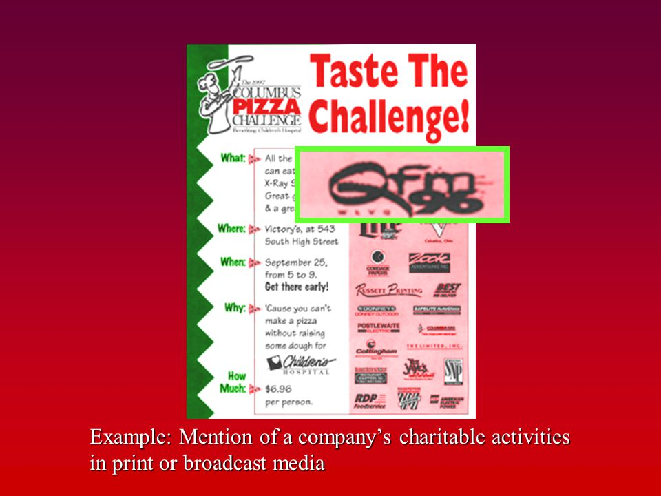 Publicity Example: Mention of a company's charitable activities in print or broadcast media.