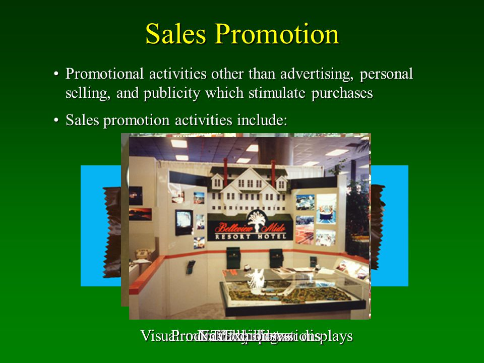 Sales Promotion Promotional activities other than advertising, personal selling, and publicity which stimulate purchases.