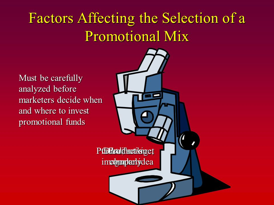 Factors Affecting the Selection of a Promotional Mix