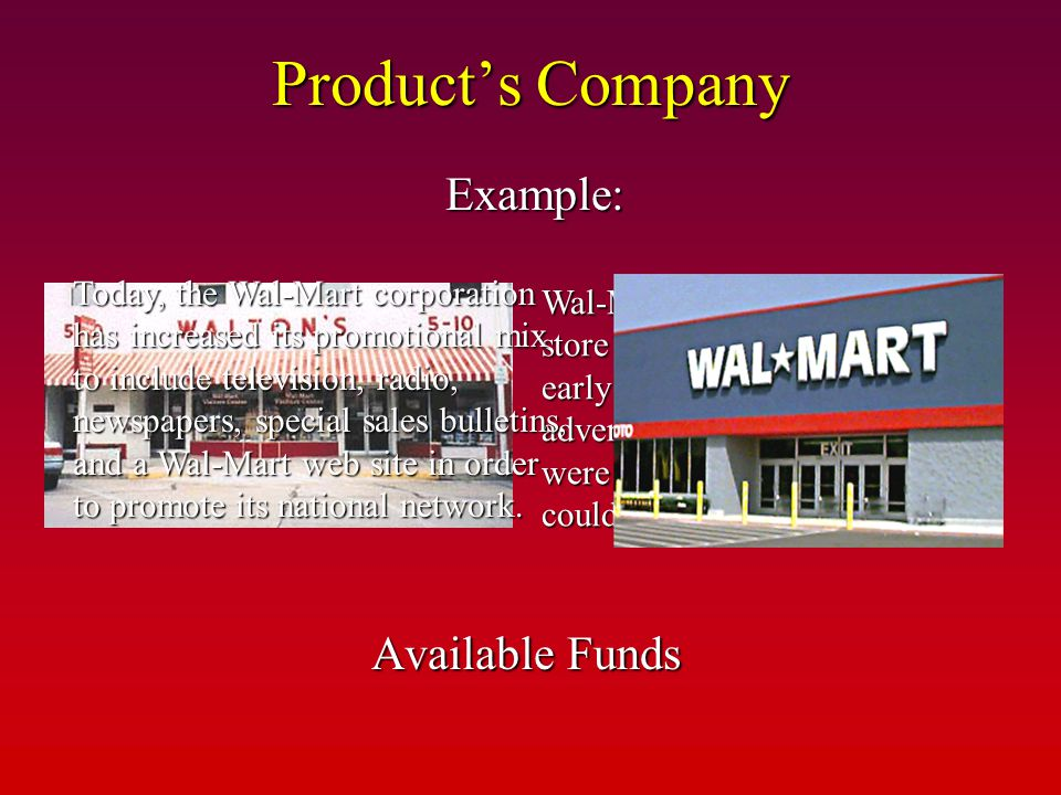 Product's Company Example: Available Funds