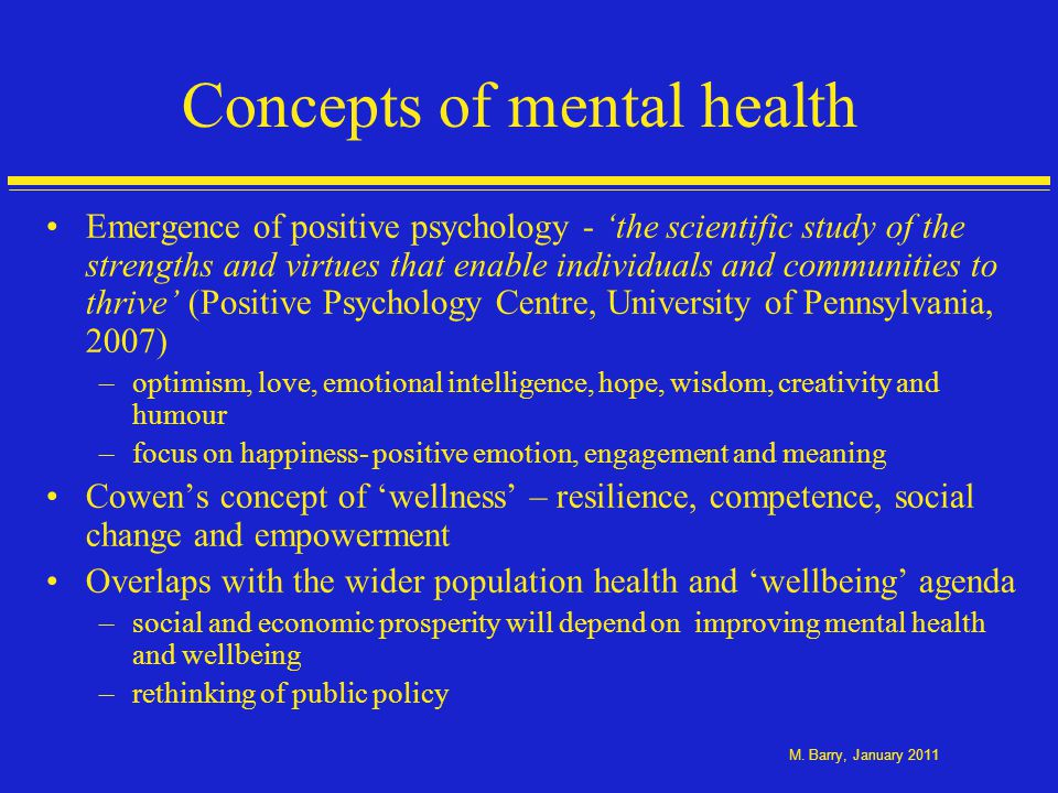 Aspects of wellbeing Emotional wellbeing - affect/feeling