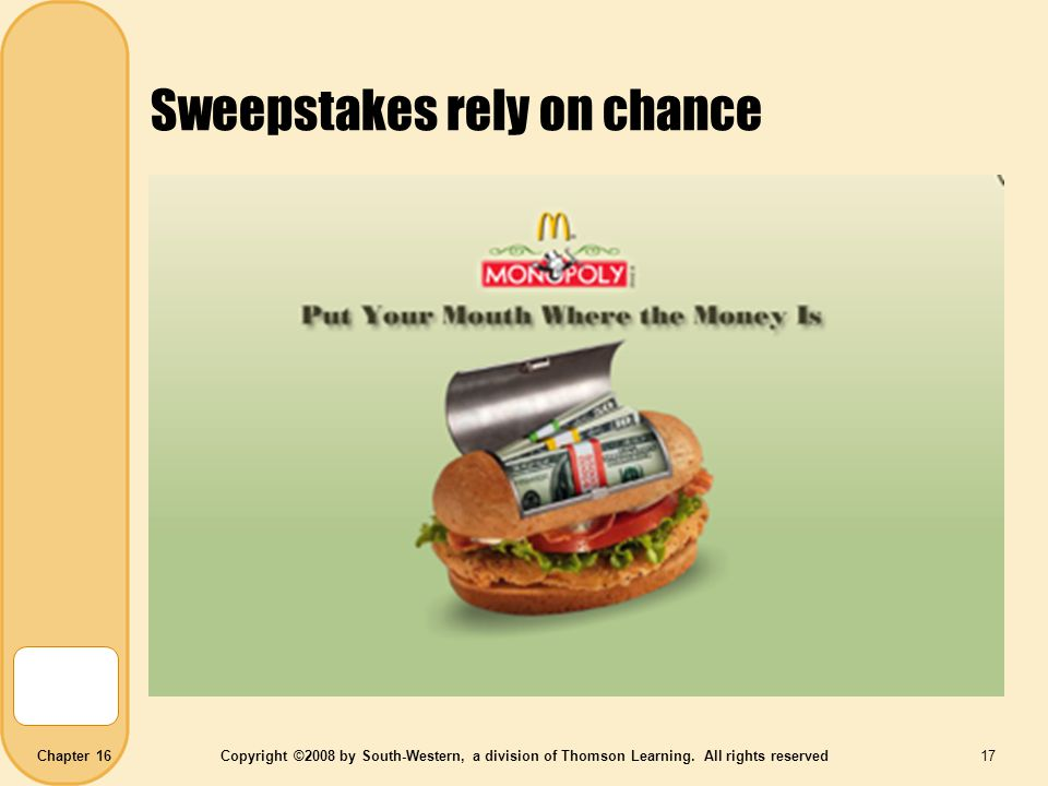 Sweepstakes rely on chance