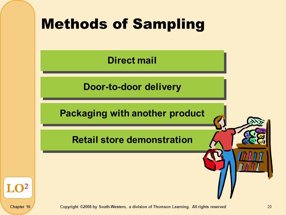 Methods of Sampling LO2 Direct mail Door-to-door delivery
