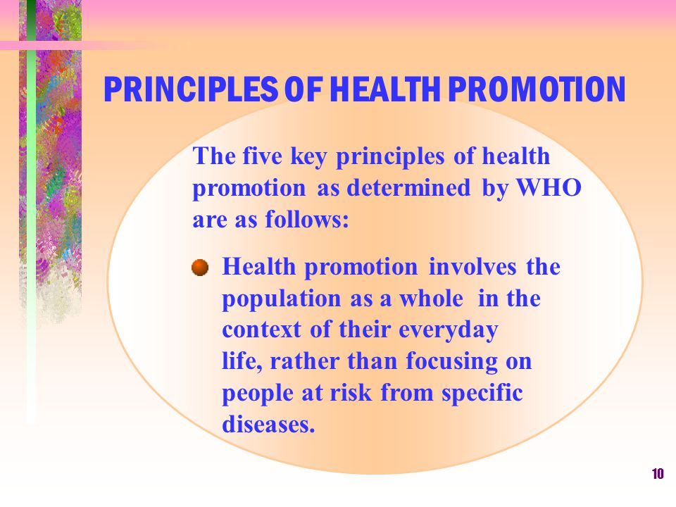 PRINCIPLES OF HEALTH PROMOTION