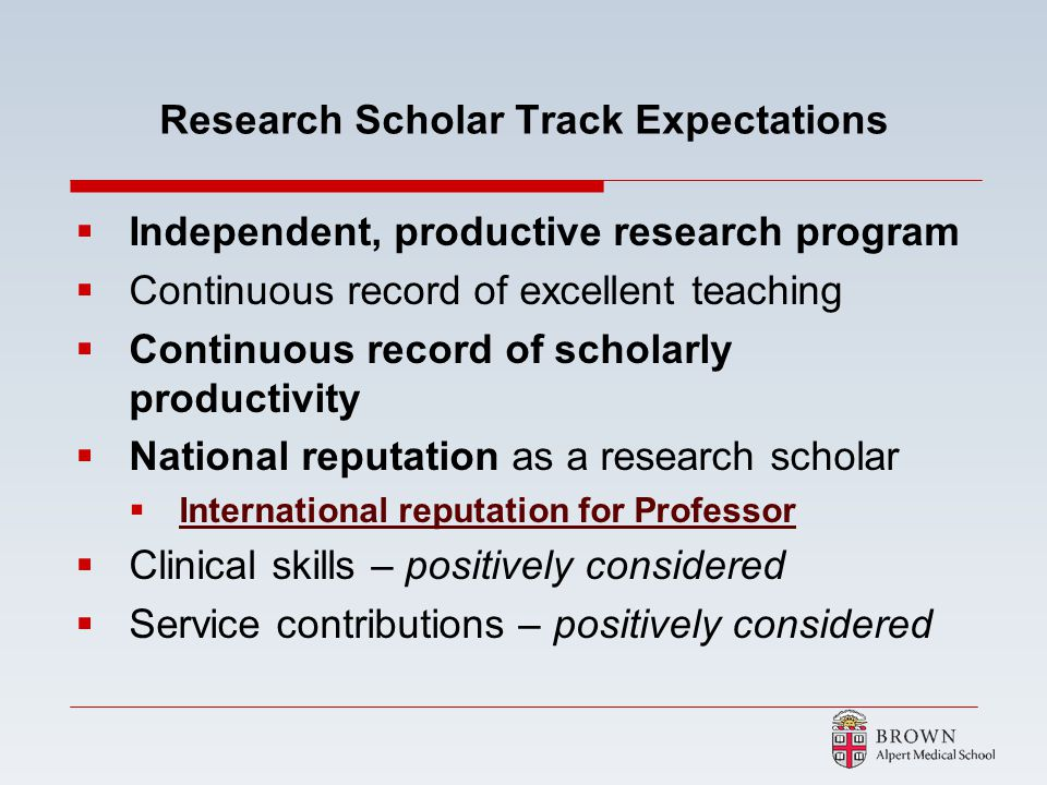 Research Scholar Track Expectations