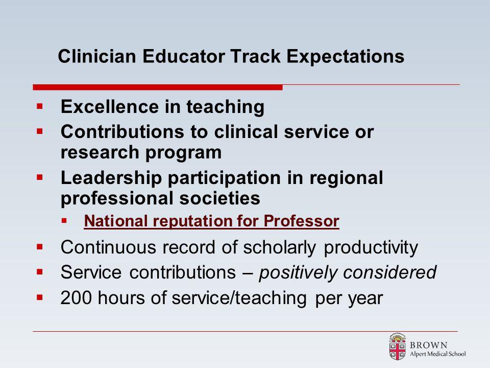 Clinician Educator Track Expectations