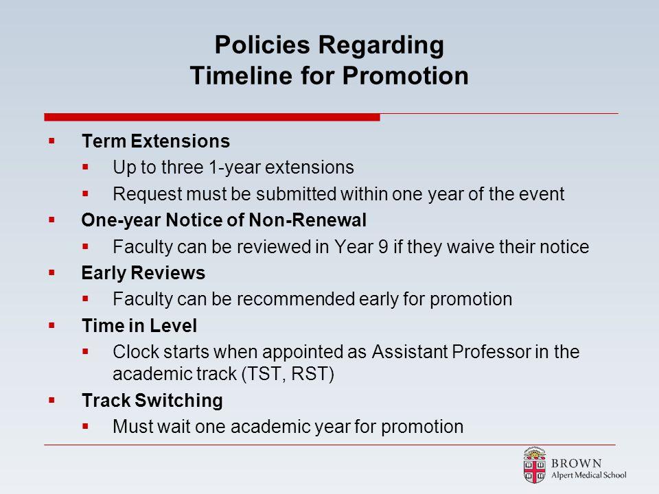 Policies Regarding Timeline for Promotion
