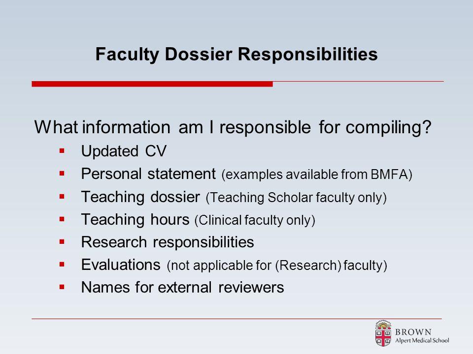 Faculty Dossier Responsibilities