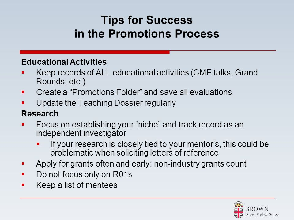Tips for Success in the Promotions Process
