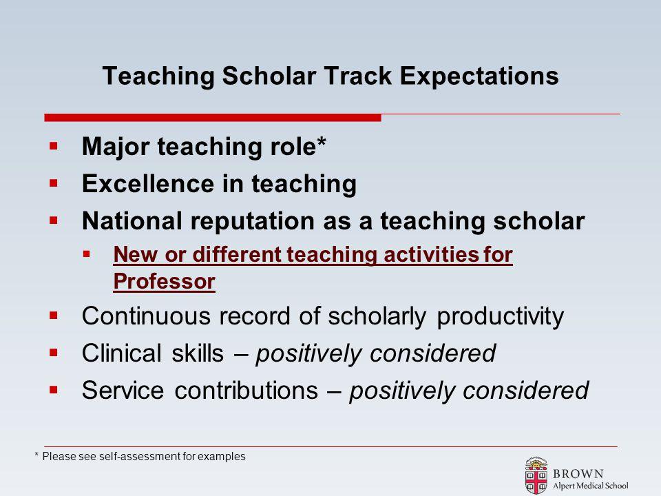 Teaching Scholar Track Expectations
