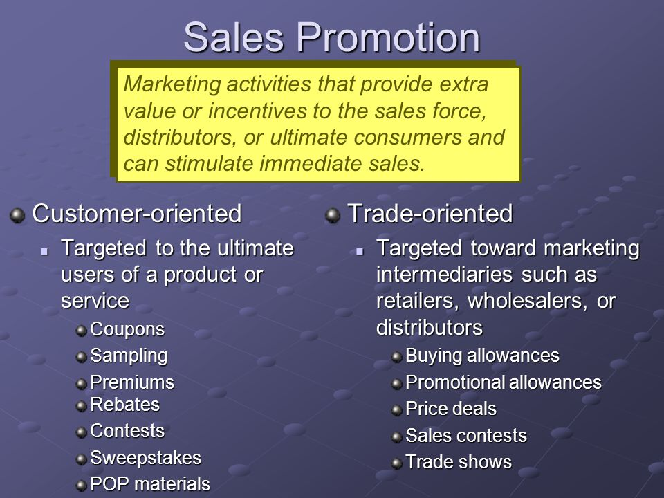 Sales Promotion Customer-oriented Trade-oriented