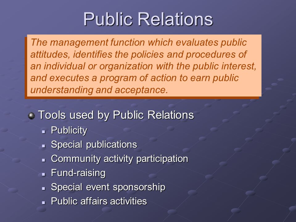 Public Relations Tools used by Public Relations