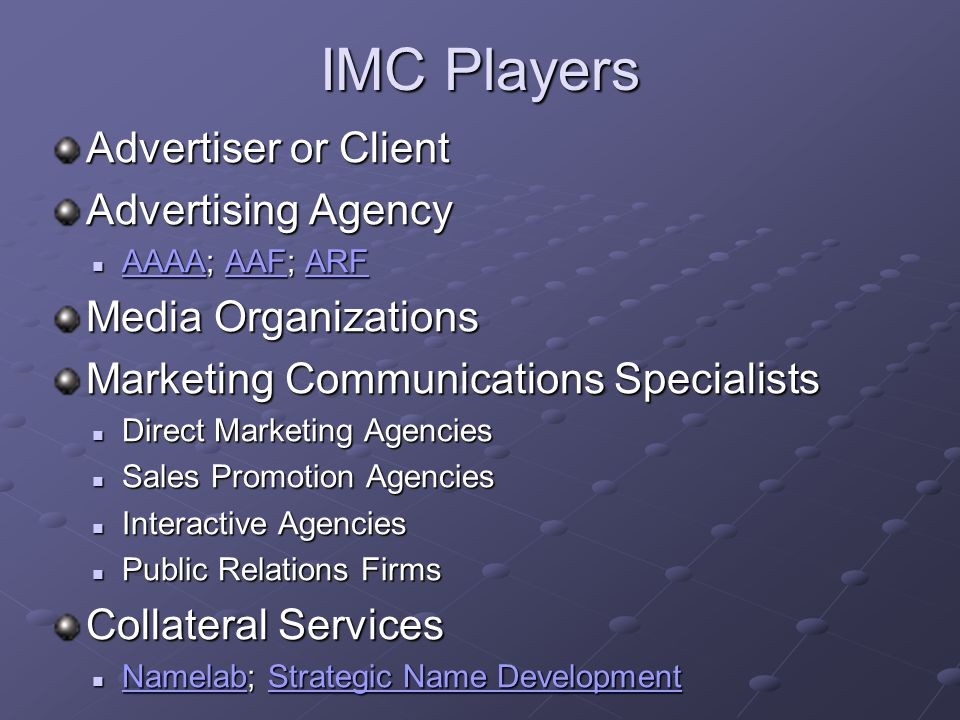 IMC Players Advertiser or Client Advertising Agency