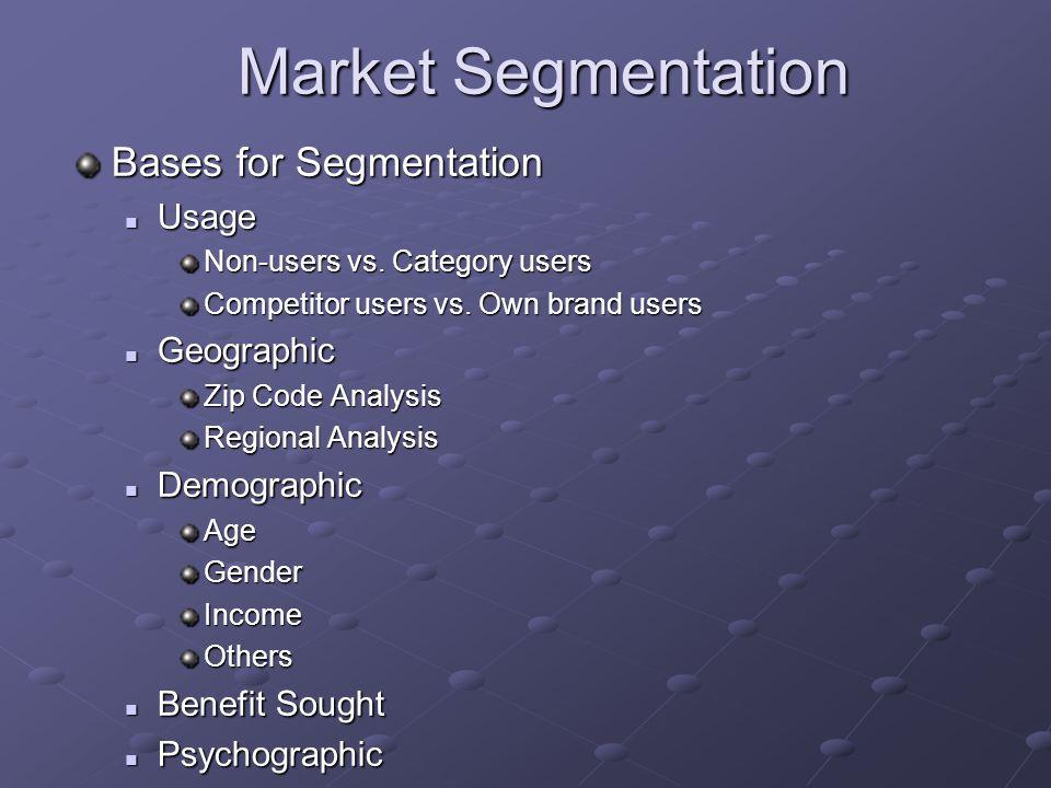 Market Segmentation Bases for Segmentation Usage Geographic
