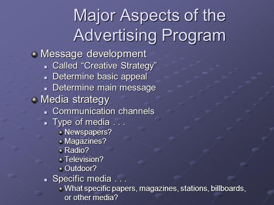Major Aspects of the Advertising Program