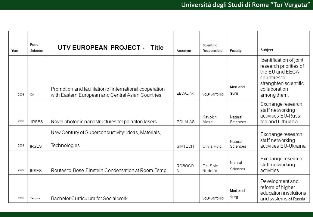 UTV EUROPEAN PROJECT - Title