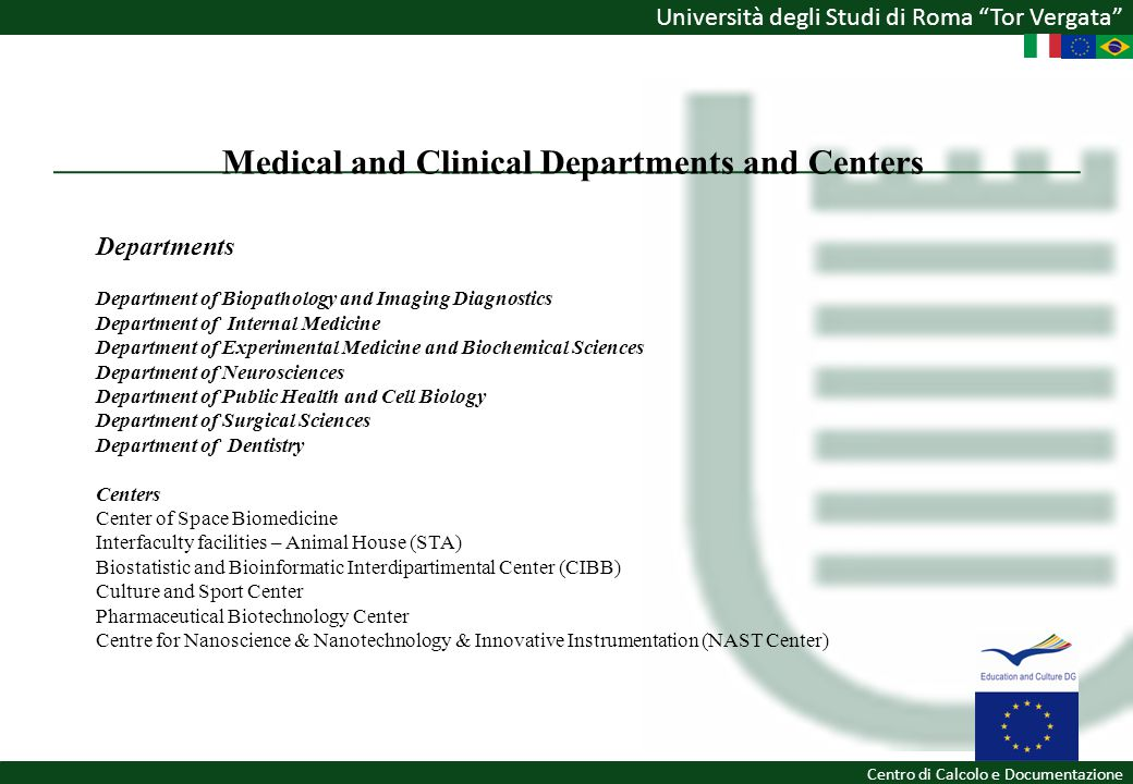 Medical and Clinical Departments and Centers