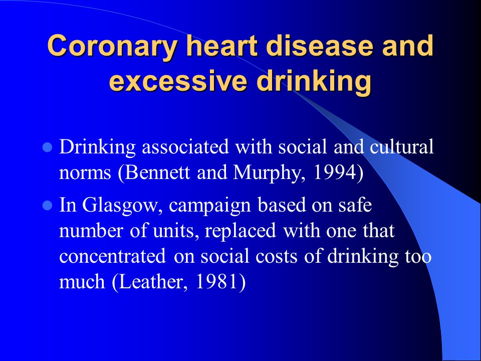 Coronary heart disease and excessive drinking
