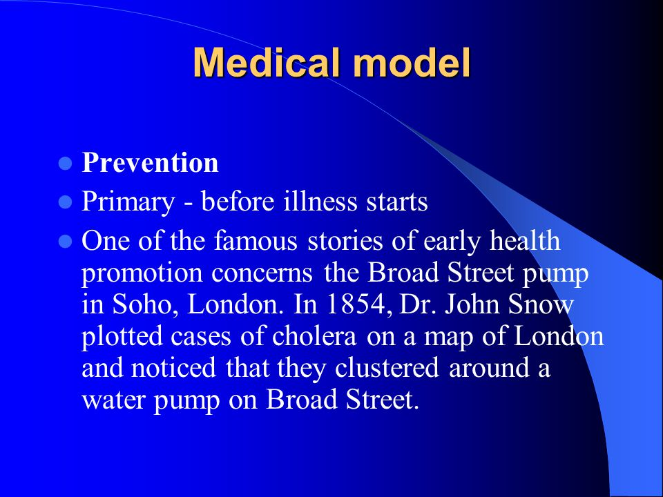 Medical model Prevention Primary - before illness starts