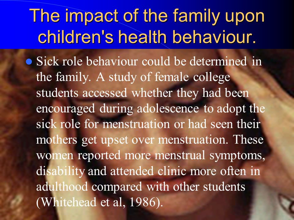 The impact of the family upon children s health behaviour.