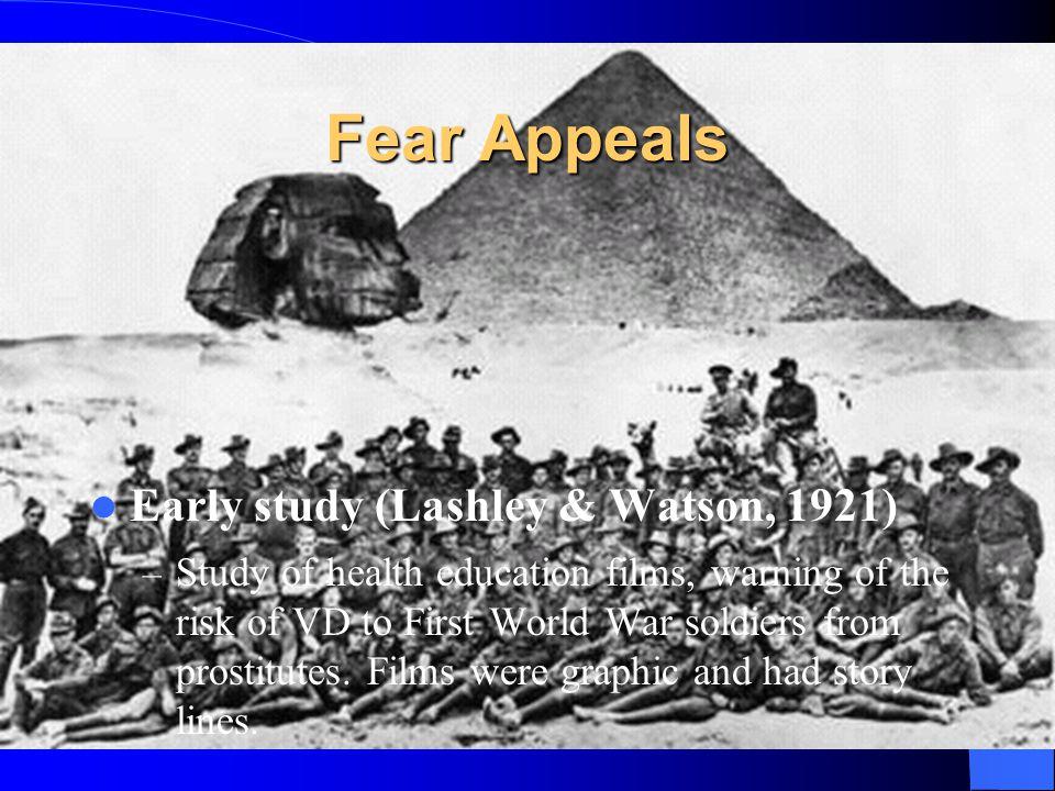 Fear Appeals Early study (Lashley & Watson, 1921)