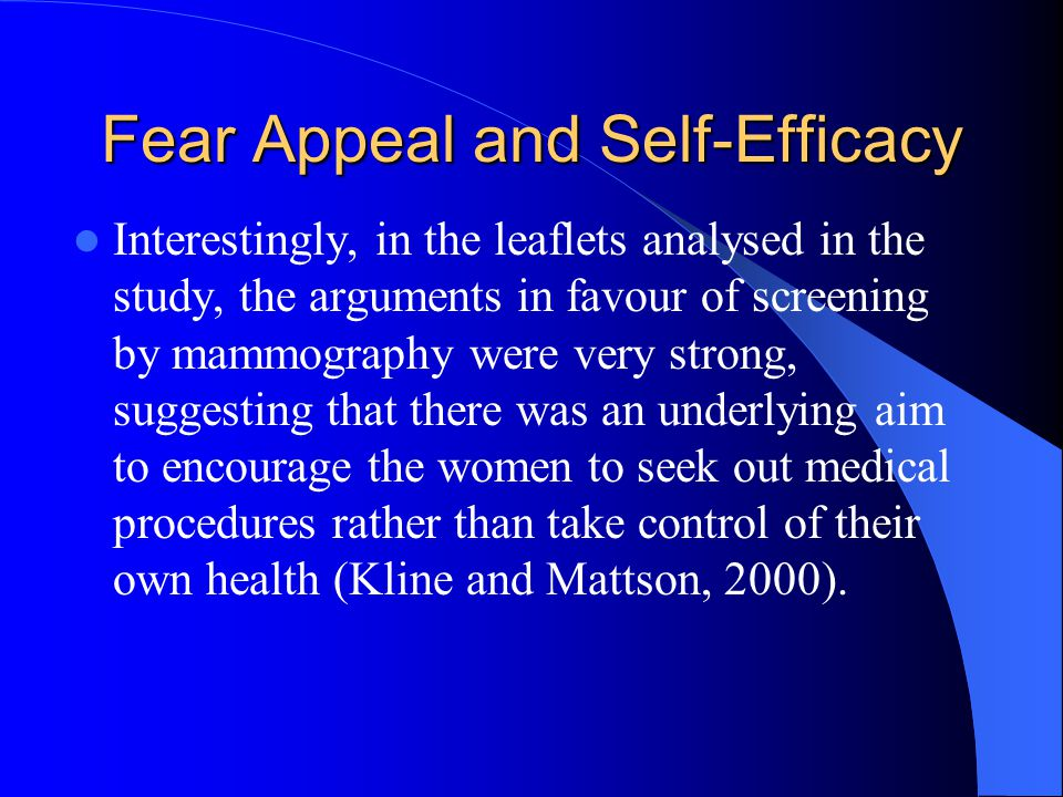 Fear Appeal and Self-Efficacy