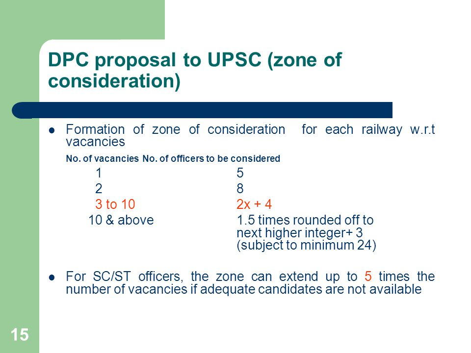 DPC proposal to UPSC (zone of consideration)