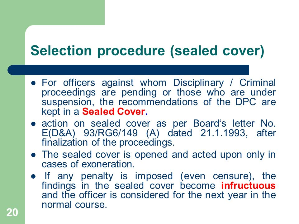 Selection procedure (sealed cover)