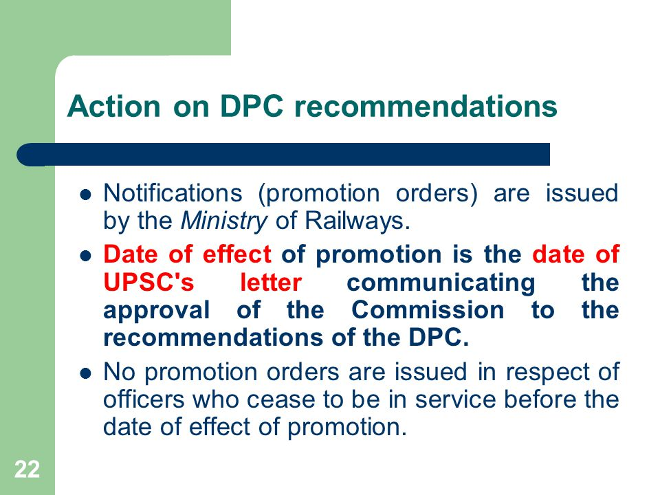 Action on DPC recommendations