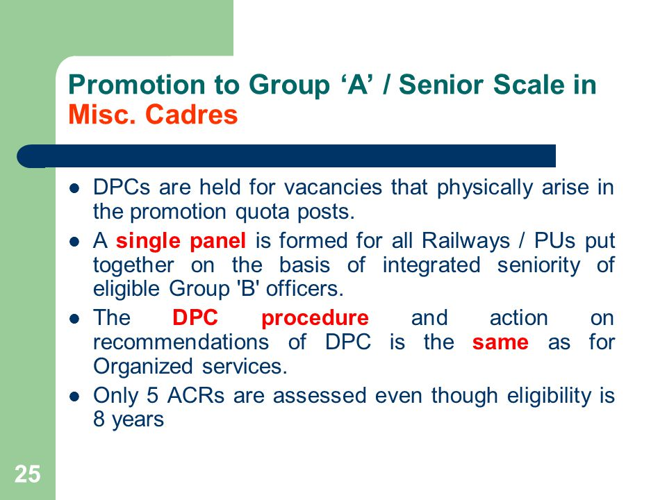 Promotion to Group 'A' / Senior Scale in Misc. Cadres