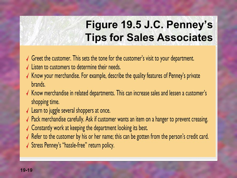 Figure 19.5 J.C. Penney's Tips for Sales Associates