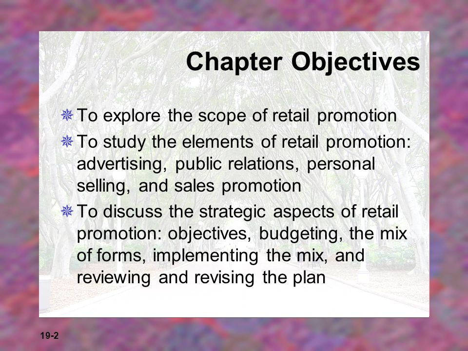 Chapter Objectives To explore the scope of retail promotion