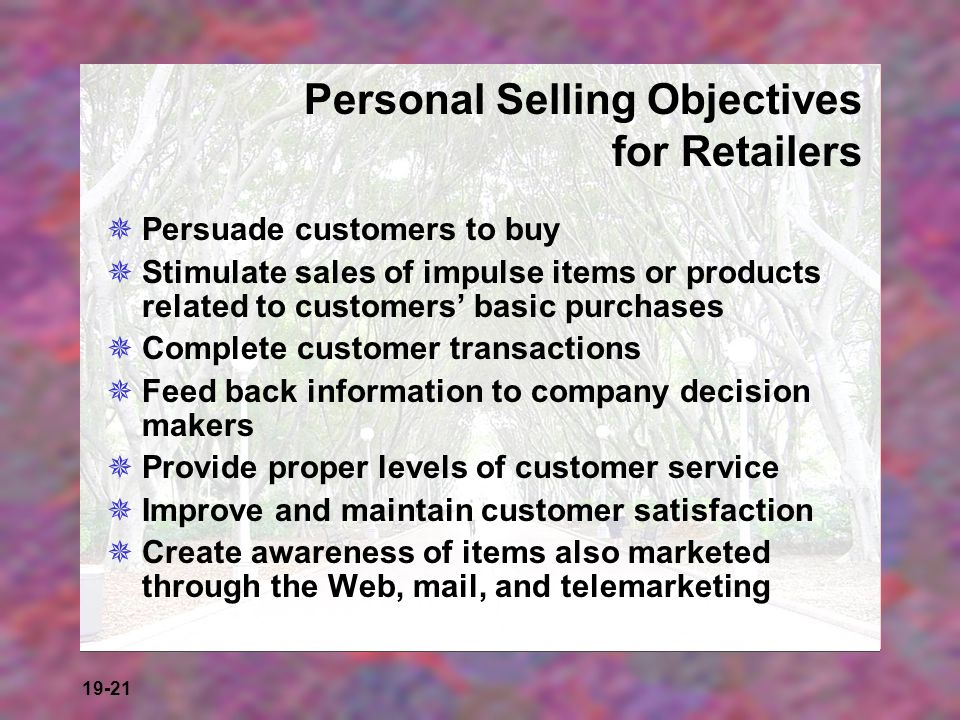 Personal Selling Objectives for Retailers