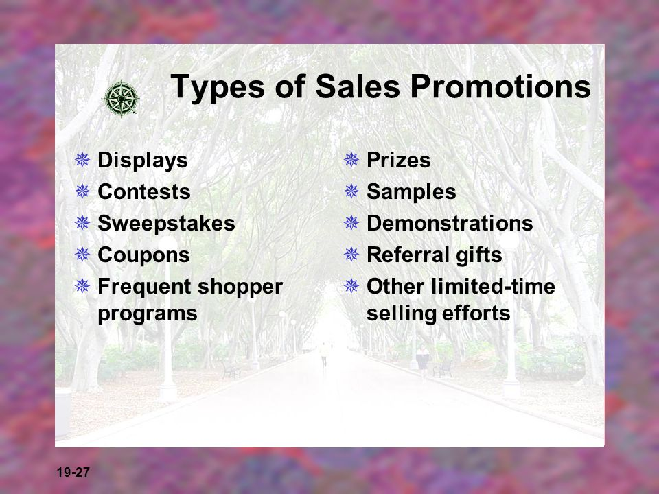 Types of Sales Promotions