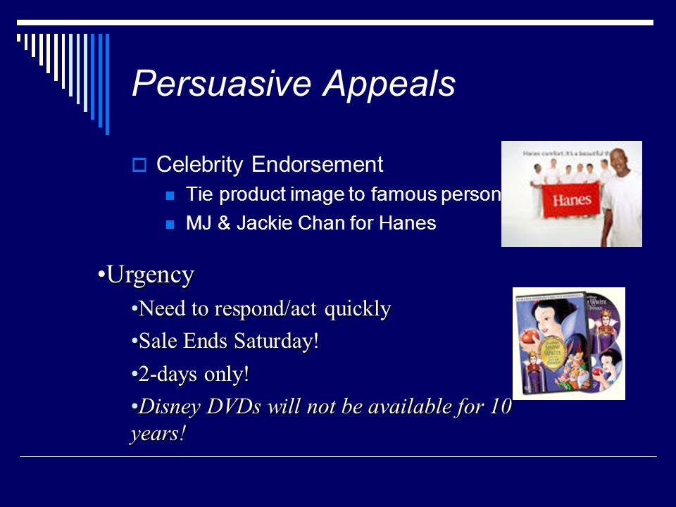 Persuasive Appeals Urgency Celebrity Endorsement