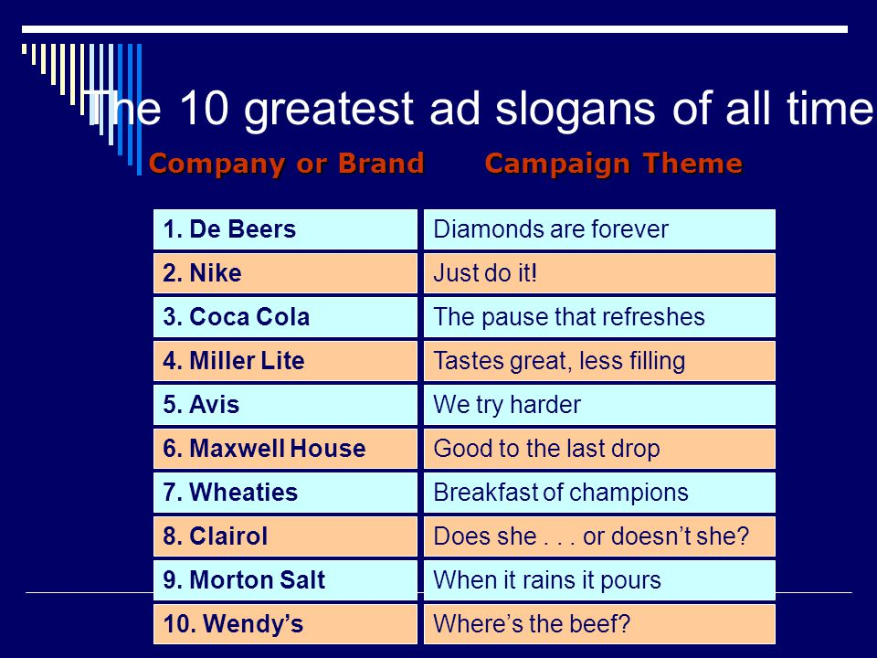 The 10 greatest ad slogans of all time