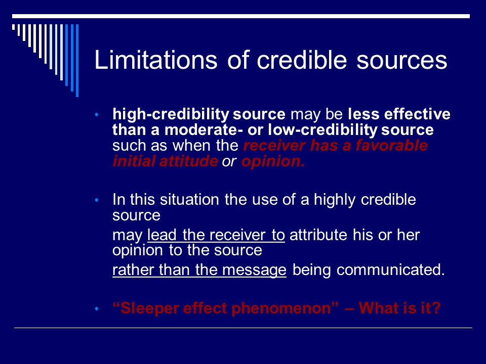 Limitations of credible sources